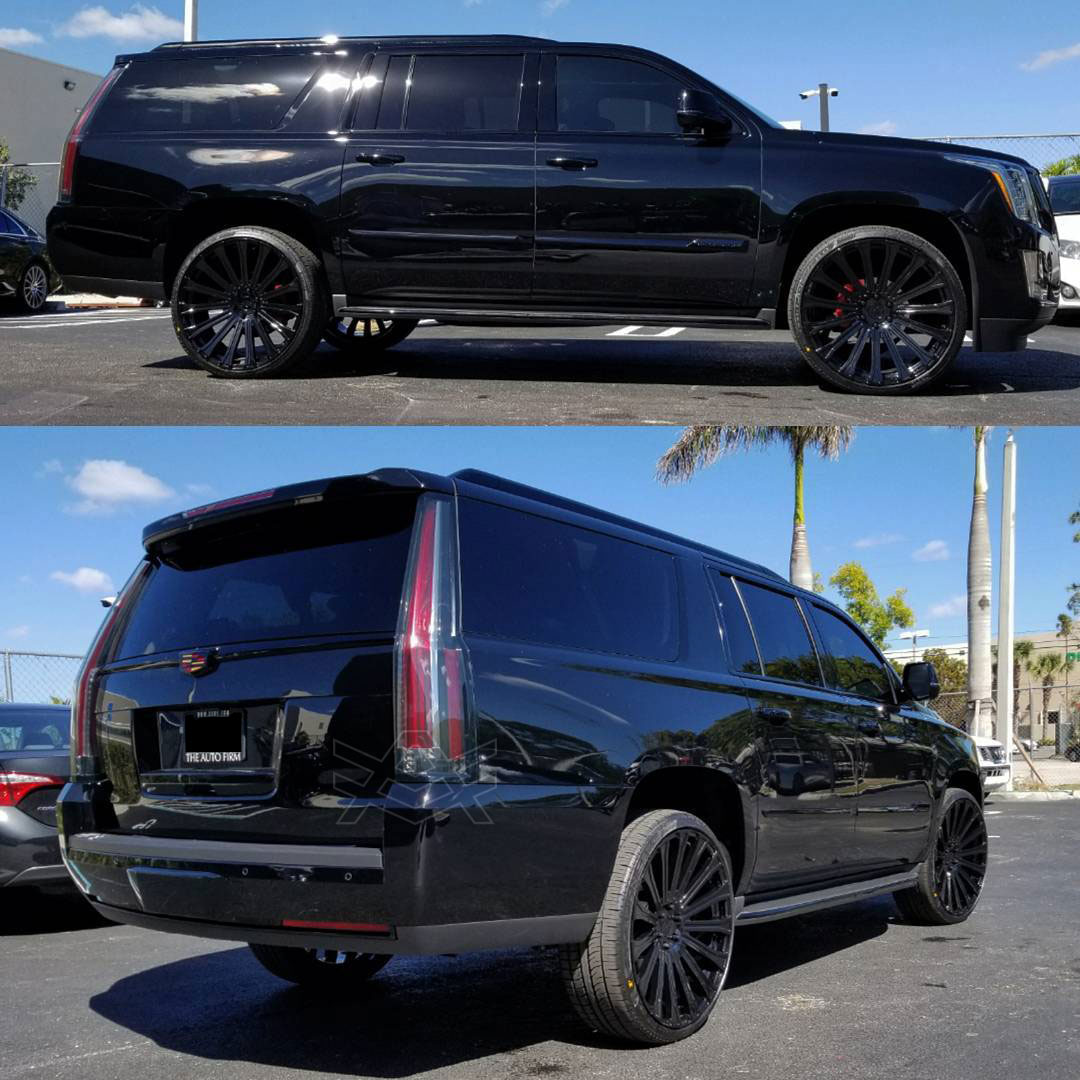 2017 Cadillac Escalade Special Edition All Blacked Out Package Sitting On 26 Avorza AV23 Forged Monoblock Wheels Triple Black With Perelli Scorpion Zero