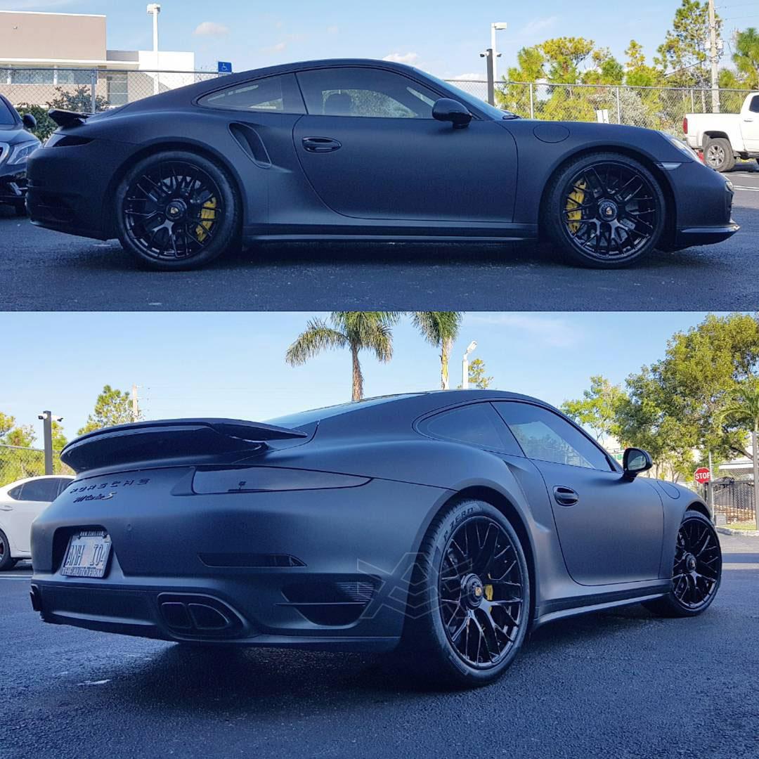Porsche 911 Turbo S Wrapped Matte Black